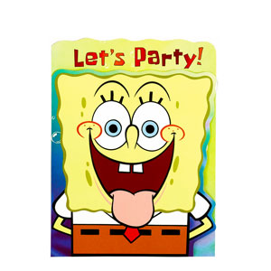 SpongeBob Die-Cut Invitations- 8ct