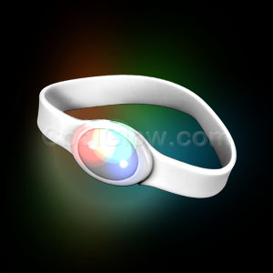 LED Silicon Wristband - White