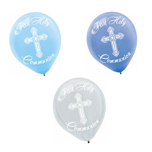 Blue Communion Printed Latex Balloons- 15ct