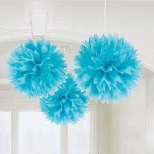 Blue Fluffy Decorations- 3ct
