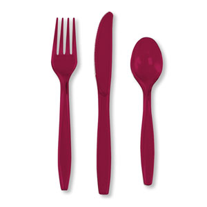 Maroon Assorted Cutlery