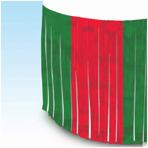 Red Green Metallic Fringe Table Skirt- 12ft