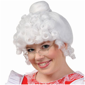 Mrs. Claus Wig- White