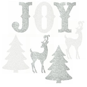 Silver & White Glitter Holiday Icons Cutouts- 9ct
