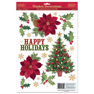 Happy Holidays Christmas Vinyl Window Decorations- 18 Inch