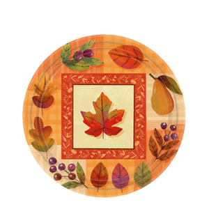 Watercolor Leaves 7 Inch Plates