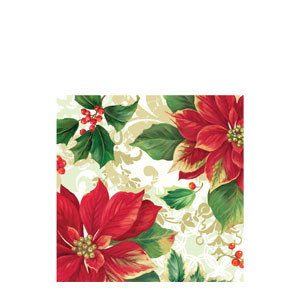 Elegant Poinsettia Luncheon Napkins