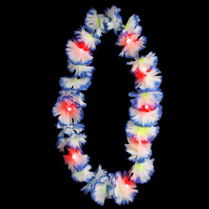 LED Silk Flower Leis - Blue