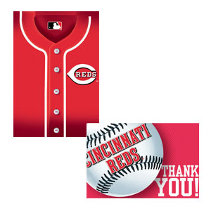 Cincinnati Reds Invitations and Thank You Cards Set- 16ct