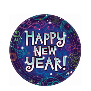 New Year Midnight Festivities Plates- 7 Inch 18ct