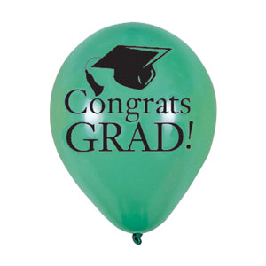 Green Grad Latex Balloon