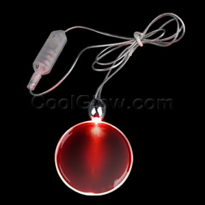 LED Circle Pendant Necklace - Red