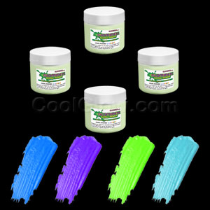 Glominex Glow Paint 2 oz Jars - Invisible Day Assorted