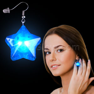 LED Star Earrings - Blue