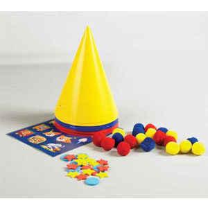 Big Top Birthday Decorate-Your-Own Clown Hat Kit- 6pc