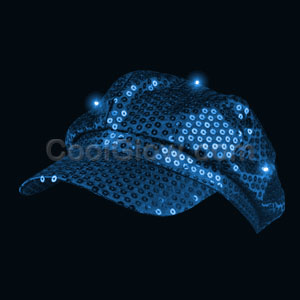 LED Sequin Newsboy Hat - Blue