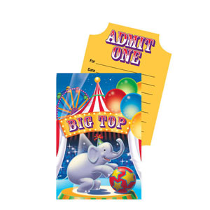 Big Top Birthday Pop-Up Invitations- 8ct