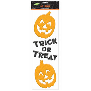 Glitter Pumpkin Gel Clings- 3ct