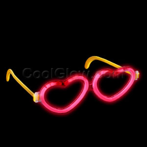 Glow Heart Eyeglasses - Red