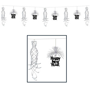 Happy New Year Shimmer Garland - Silver