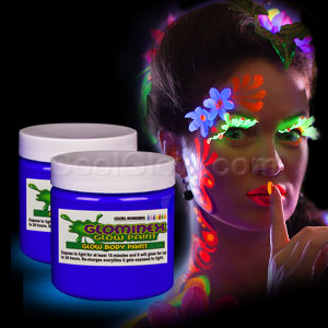 Glominex Glow Body Paint 4oz Jar - Blue