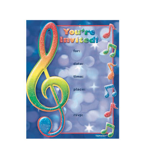 Music Notes Novelty Invitations- 8ct