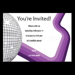 Disco Ball on Purple - Custom Invitations