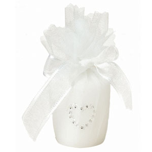 White Candle Favor with Heart