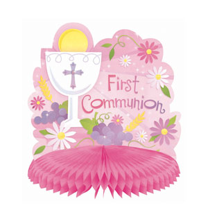 First Communion Pink Honeycomb Centerpiece- 10in