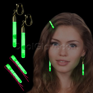 Glow Hair Pins and Earrings Set - Green