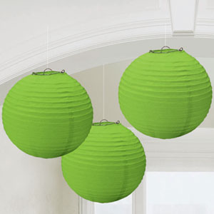 Green Round Lanterns- 3ct