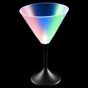 LED Martini Glass Black Stem - 7 oz.