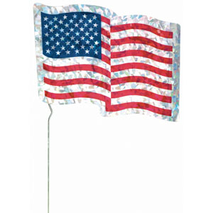 USA Flag Metallic Glitter Lawn Sign - 6.5in x 7.75in