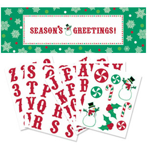 Red and Green Holiday Personalized Giant Sign Banner- 65 Inch