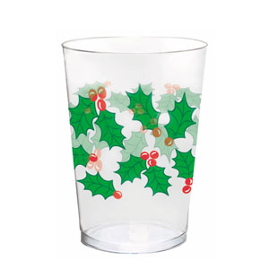 Holly Plastic Tumblers- 10oz. 40ct