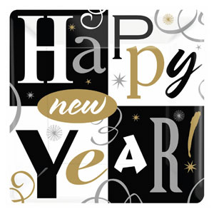 New Years Block Party Plates- 10 Inch 8ct
