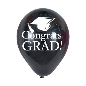 Black Grad Latex Balloon