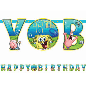 SpongeBob Party Add-An-Age Letter Banner- 10ft