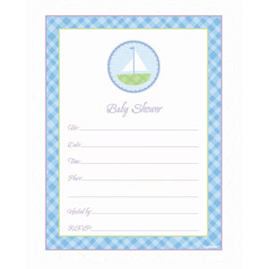 Sailboat Baby Shower Blue Invitations - 20ct