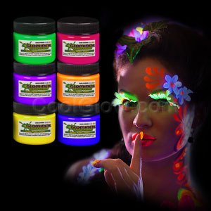 Glominex Glow Body Paint 1oz Jars - Assorted 6ct