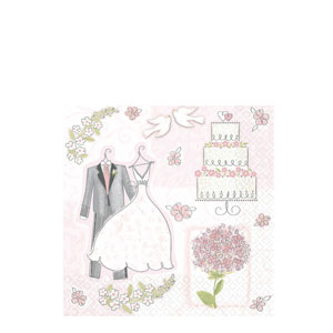 Sweet Romance Beverage Napkins- 16ct