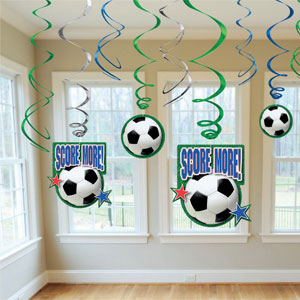 Soccer Swirl Decorations- 12ct