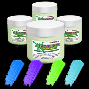 Glominex Glow Paint 8 oz Jars - Invisible Day Assorted