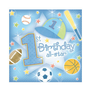 First Birthday All-Star Beverage Napkins - 36ct