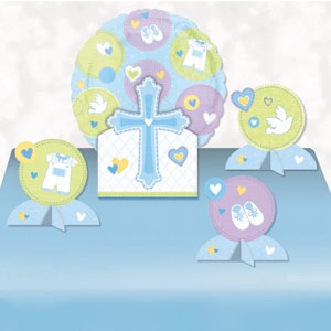 Sweet Christening Blue Balloon Centerpiece- 5pc