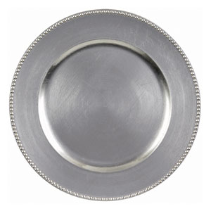Round Silver Metallic Charger- 14 Inch