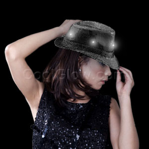 LED Sequin Fedora - Black