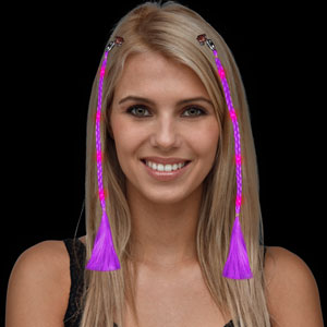 Fun Central R56 LED Light Up Braided Hair Extensions - Purple