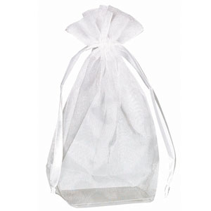Box Bottom Organza Bag - White 12 Ct