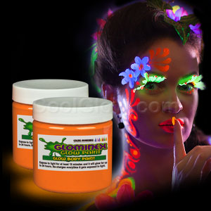 Glow Body Paint 4 oz Jar - Orange